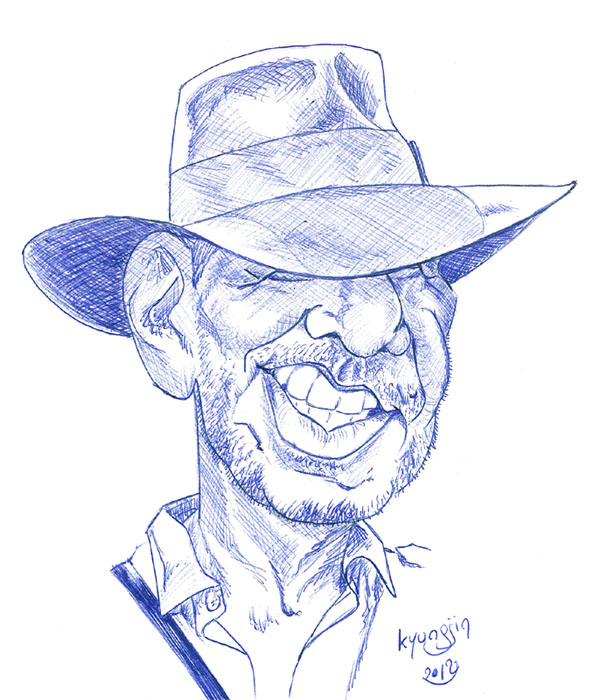 Harrison Ford Indiana jones stylo bille caricature
