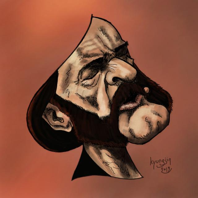 Lemmy Kilmister caricature couleur