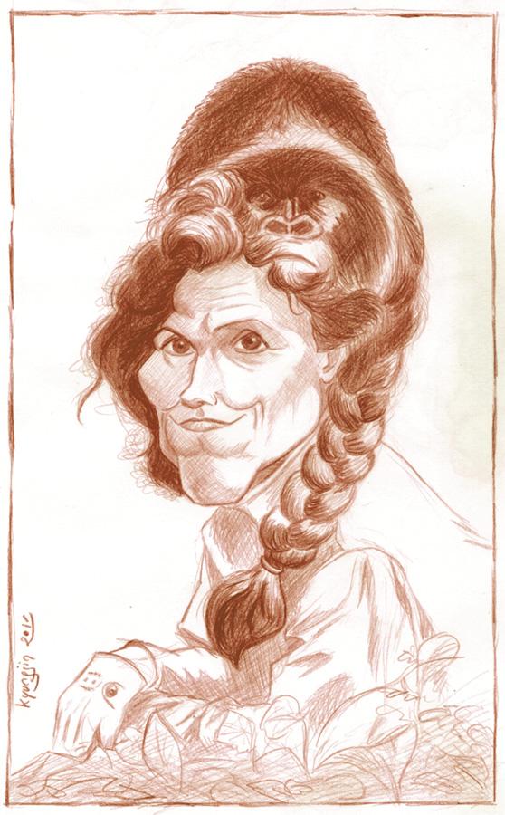 Sigourney Weaver caricature Dian Fossey