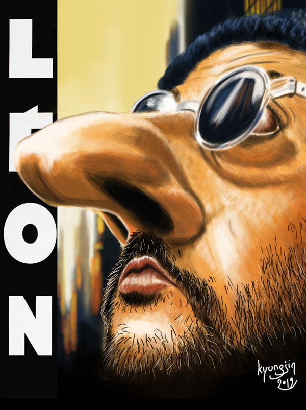 Jean Reno Leon caricature