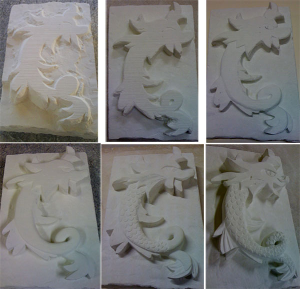 dragon sculpté: étapes