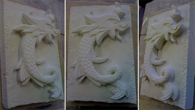 dragon sculpté fini